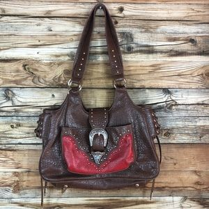 WRANGLER faux leather buckle flap western purse